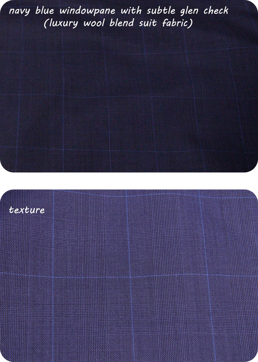 navy blue windowpane with subtle glen check