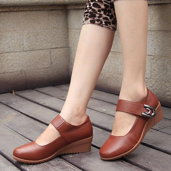 ea5c33e16cb Soft PU comfortable Medium heel hook loop women wedges shoes lady round toe  work career dancing work nurse shallow shoes
