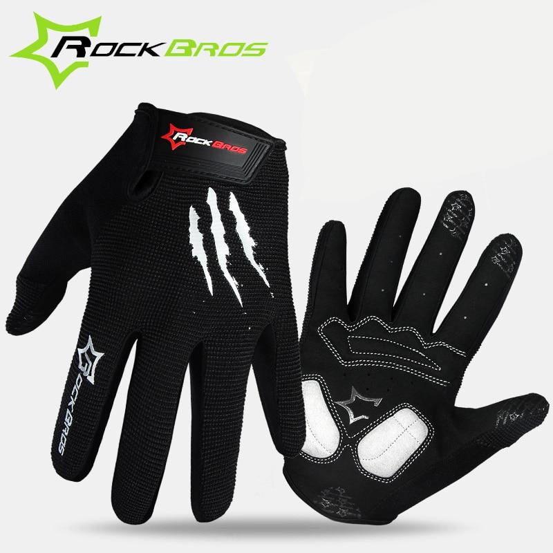 ROCKBROS Bike Bicycle <font><b>Gloves</b></font> Full Finger Bike Bicycle MTB <font><b>Gloves</b></font> Touch Screen Gel Padded Breathable Shockproof For Men Women