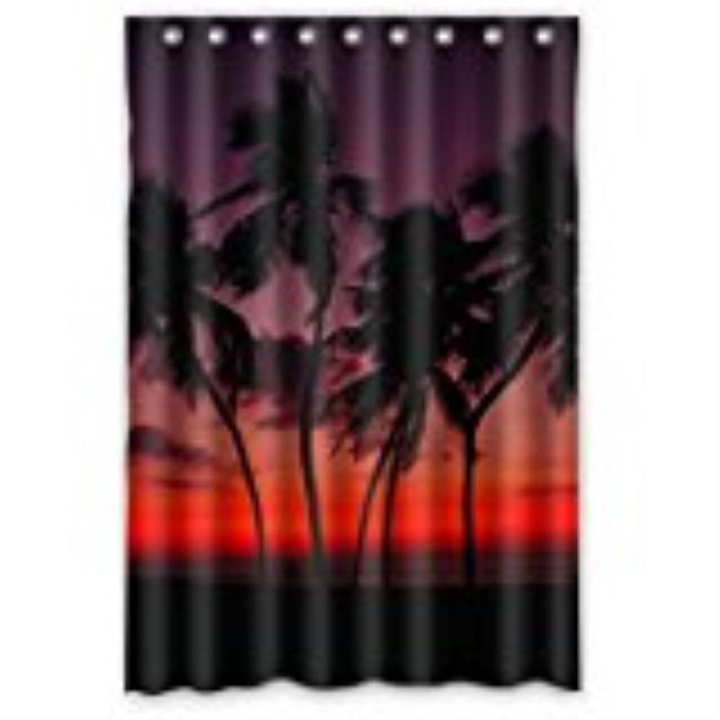Palm Trees Shower Curtains WaterProof Bath Curtain Modern Print Art