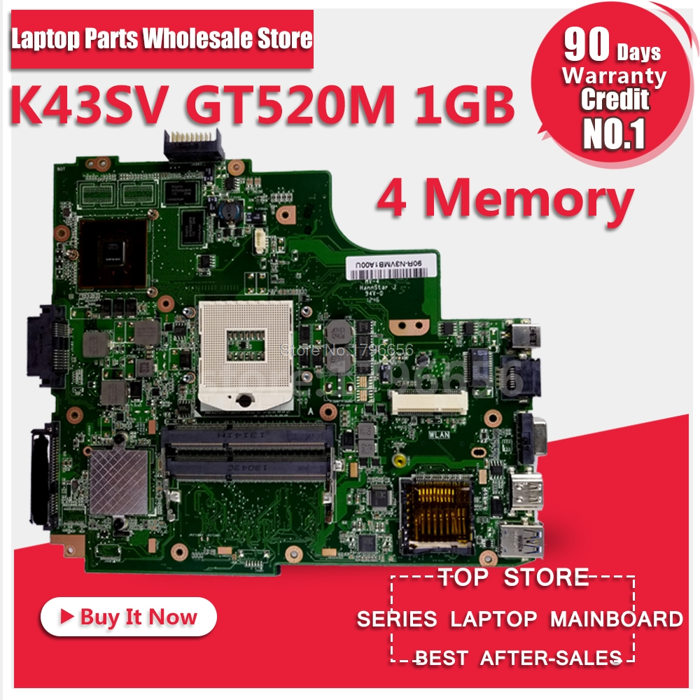 K43SV Motherboard REV:4.1 1GB HM65 For ASUS X43S A43S K43S A83S A84S K43SJ K43SV laptop Motherboard K43SV Mainboard 100% OK k73ta for asus k73t x73t k73ta k73tk r73t latop motherboard rev 1a qbl70 la 7553p hd7670m 1gb mainboard 100% tested ok