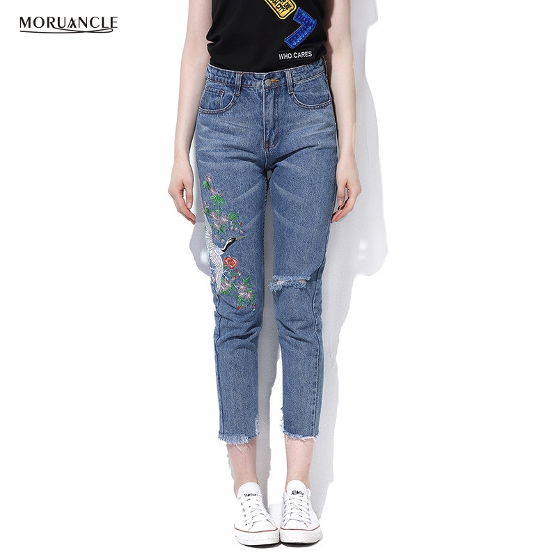 moruancle 2017 new womens ripped wide leg jeans pants distressed flare denim trousers with holes high waist boot cut size s xxl MORUANCLE Fashion Womens Ripped Embroidered Jeans Pants Slim Fit Distressed Pencil Denim Trousers With Embroidery Ankle Length