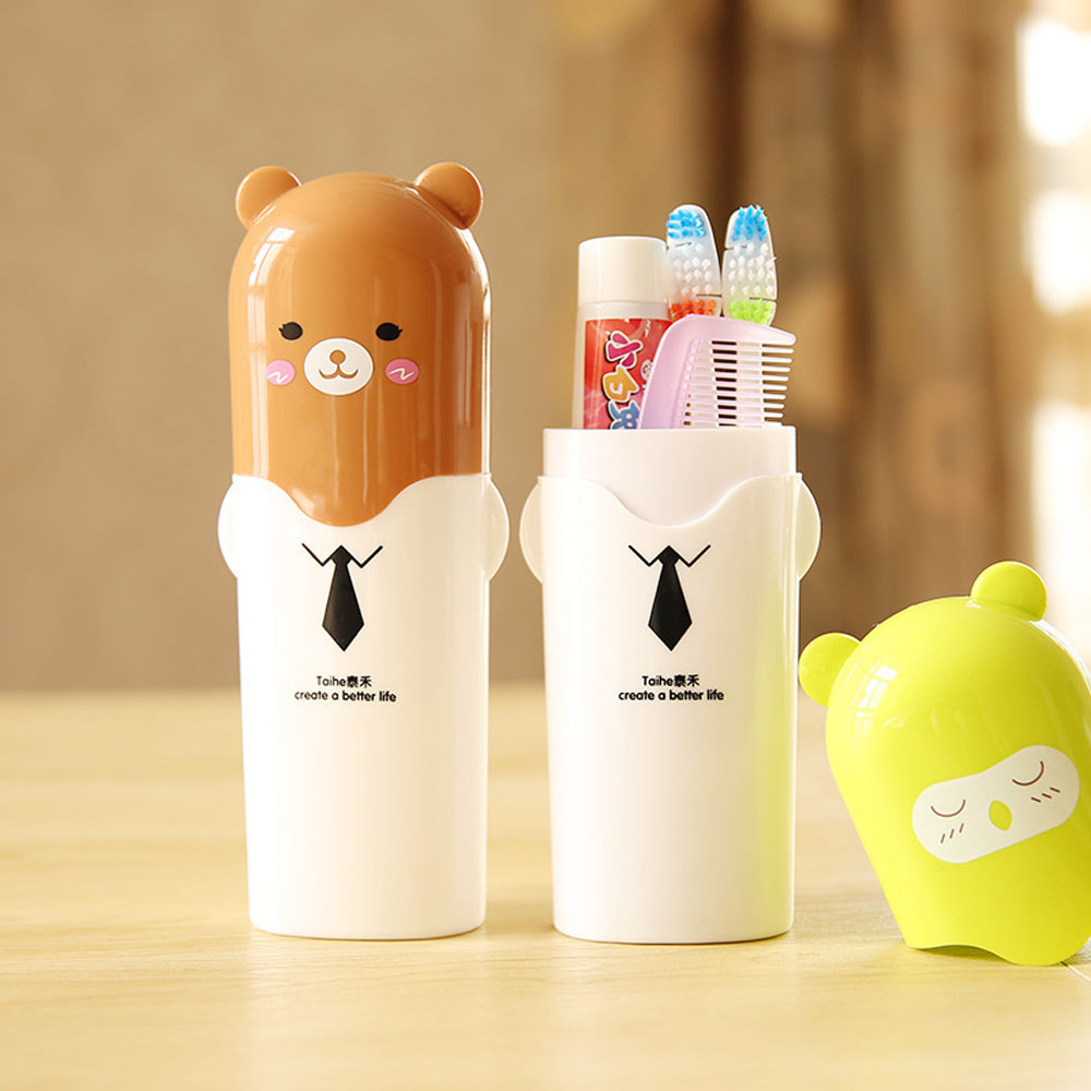 Toothbrush Case Toothpaste-Protector Outdoor Storage-Box Children Cartoon Washing-Cup