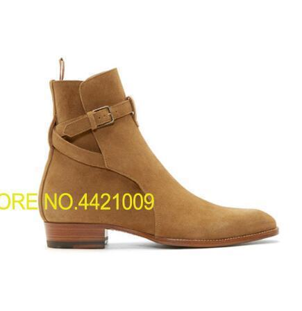 все цены на 2018 Handmade Chaussure Homme Hiver Buckle Kanye West Boots Chelsea Shoes High Leather Martin Boots Casual Motorcycle Men Shoes