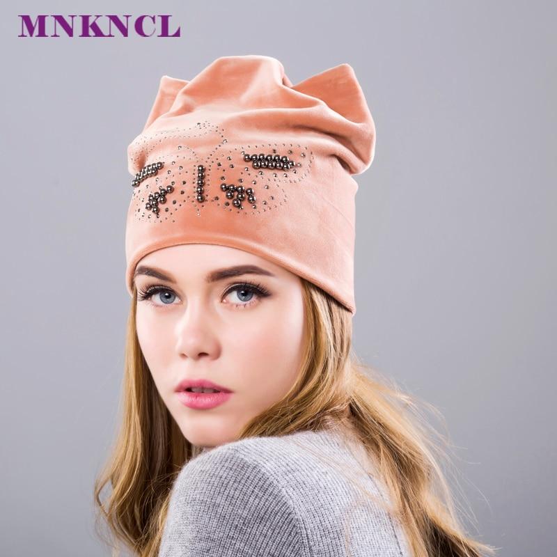 Rhinestone Beanies cap with ears skullies women autumn winter hats for ladies fashion beanie cat hat women casual velvet caps skullies