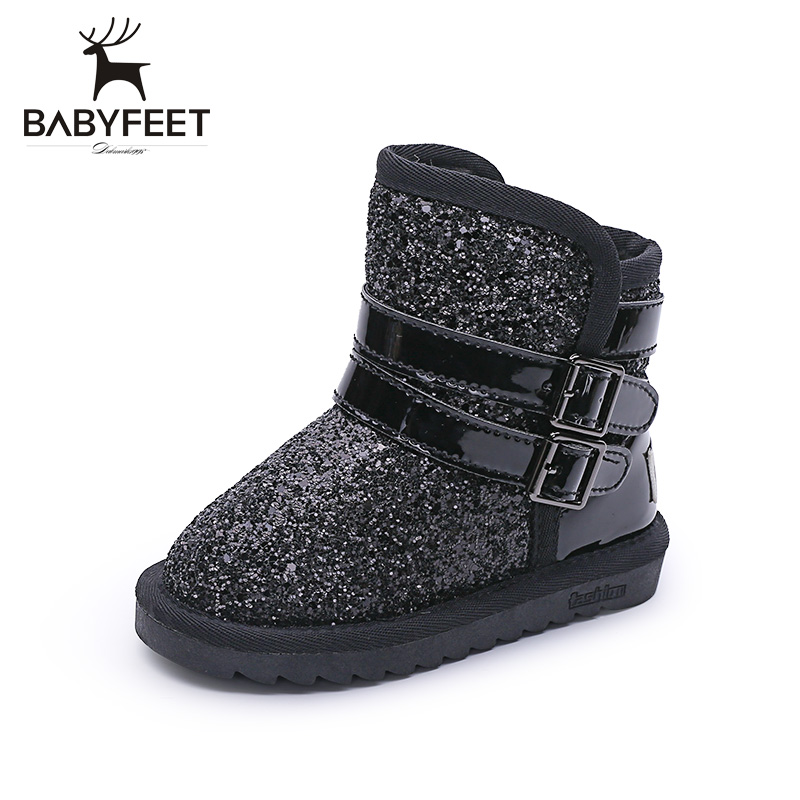 babyfeet New children snow boots winter warm Plush booties Buckle princess girls shoes Sequins cotton kids ankle boots chaussure 2016 new winter kids snow boots children warm thick waterproof martin boots girls boys fashion soft buckle shoes baby snow boots