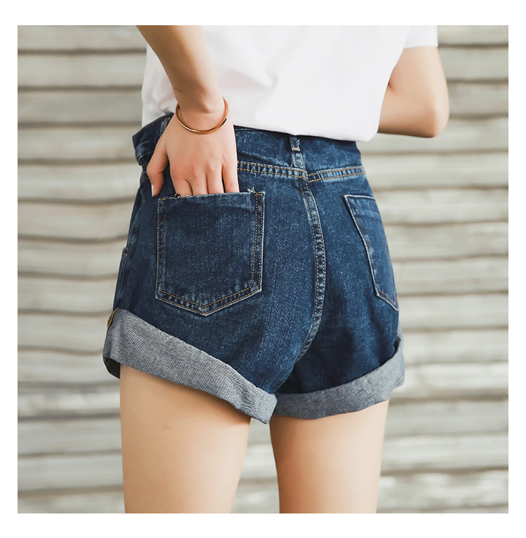 HTB1CwoOPbrpK1RjSZTEq6AWAVXaC - Streamgirl Denim Shorts Women's White Women Short Jeans Khaki Wide Leg Elastic Waist Vintage High Waist Shorts Women Summer