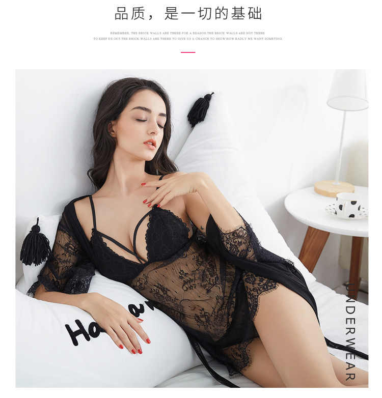 f718724125a ... See Through Lace Bra Padded Robe Gown Sets Nightdress Bathrobe Women  Black Pink Red Transparent Nighties