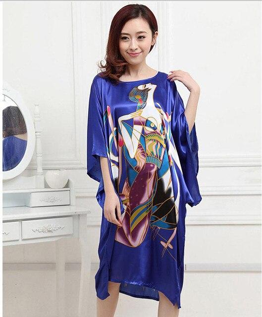 Высокая Мода Синий Женская Шелковый Атлас Рубашки Старинные Банный Халат Платье Сексуальное Миниое Лето Lounge Пижамы Пижамы Один Размер RB0027
