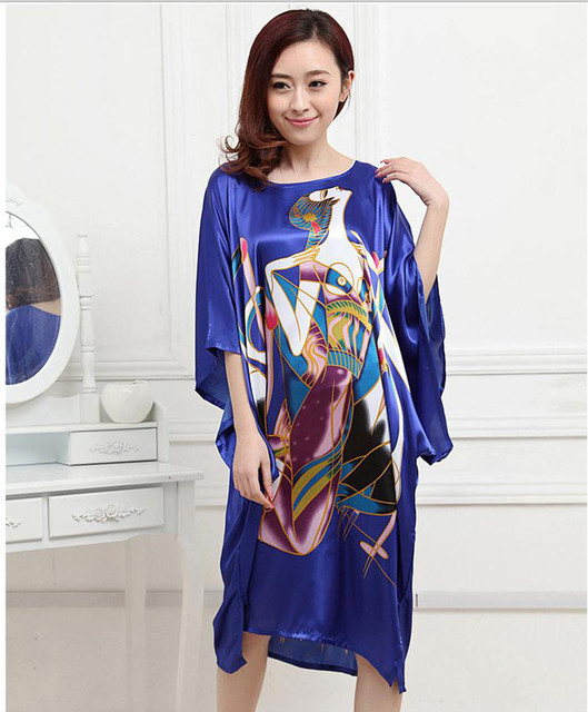 High Fashion Blue Ladies' Silk Satin Nightdress Vintage Bath Robe Gown Sexy Mini Summer Lounge Sleepwear Pajamas One Size RB0027