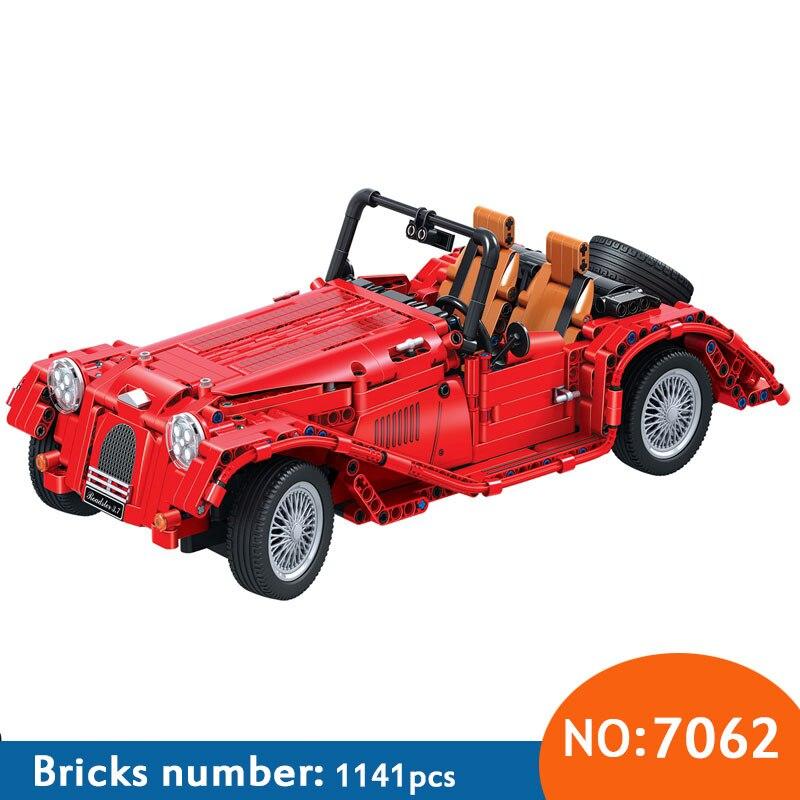 7062 Technic red convertible car building blocks DIY Educational bricks toys for children Christmas Gift