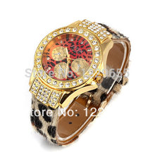 2015 leopard quartz watches, women's high fashion ladies watch, costly set auger leisure wrist watch, watch the new business