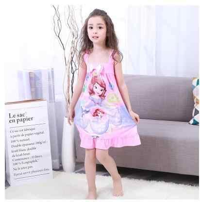 7e8599f9ceabb girl nightdress Baby Pajamas Cotton Princess Nightgown Kids Home dress  Summer Dresses big Girl Sleepwear Kids Nightgown