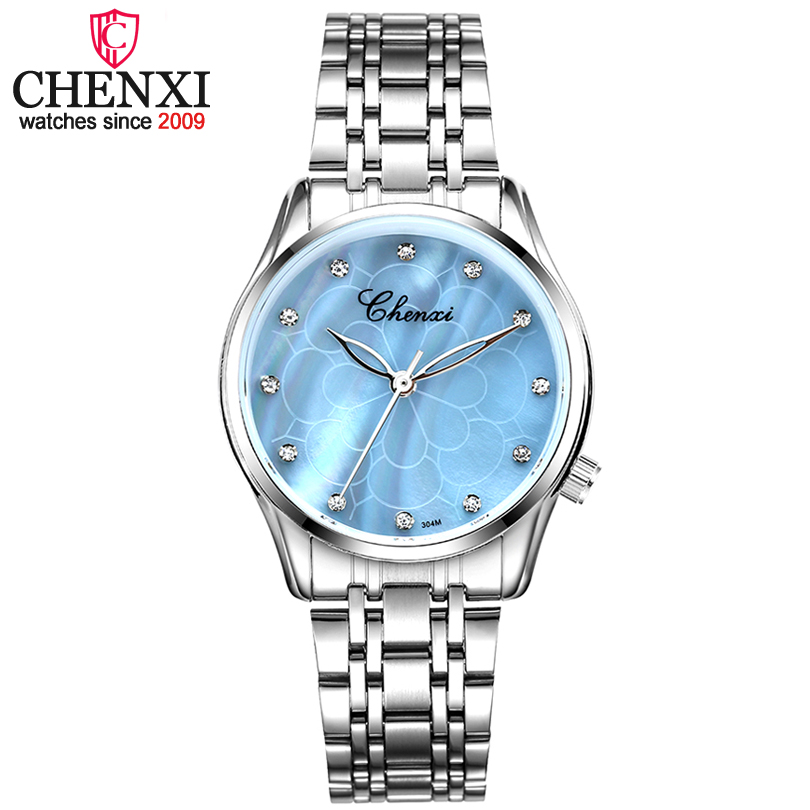 CHENXI Brand New Fashion Women Quartz Watch Lady Luxury Wrist Watches Women Stainless Steel Clock Female Rhinestone Quartz-watch natate men new business clock fashion men watch full gold stainless steel quartz wrist watch chenxi waterproof watch 0140