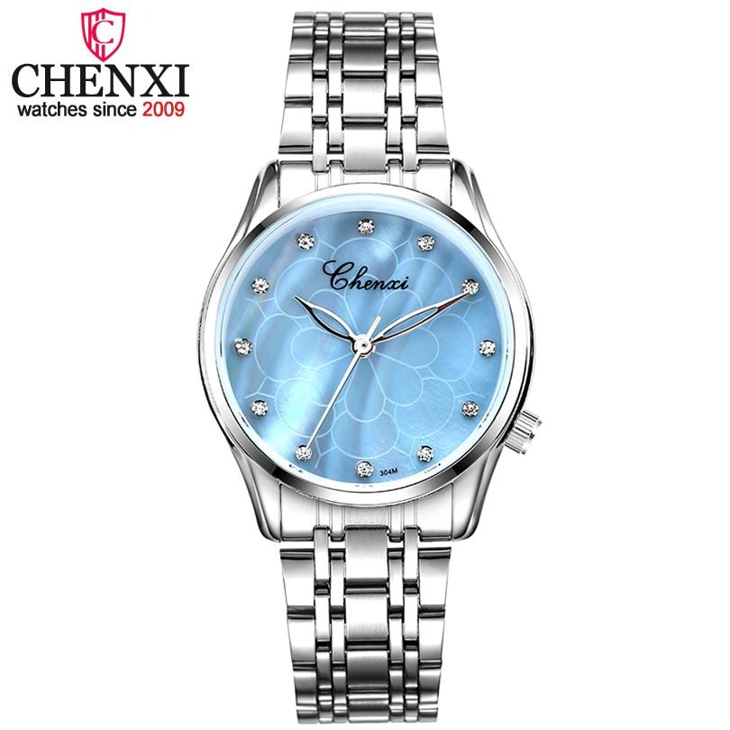 CHENXI Marque Nouvelle Mode Femmes Quartz Montre Dame De Luxe Poignet Montres Femmes En Acier Inoxydable Horloge Femme Strass Quartz-montre