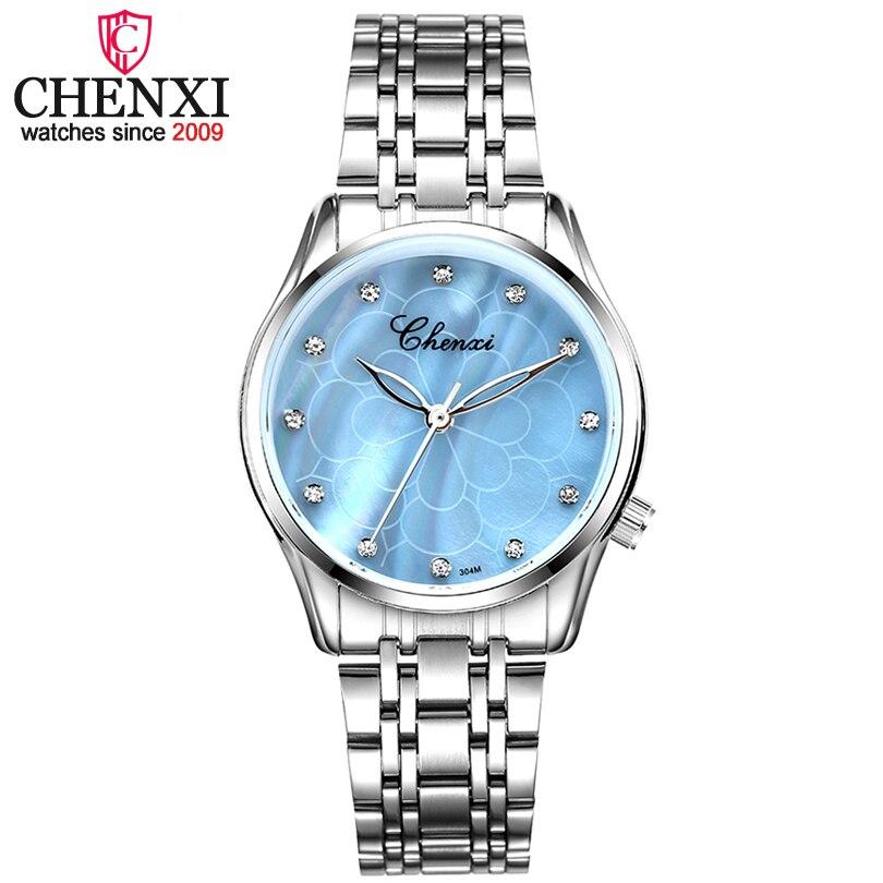 CHENXI nuevo reloj de cuarzo de moda para mujer reloj de pulsera de lujo para mujer reloj de acero inoxidable con diamantes de imitación para mujer