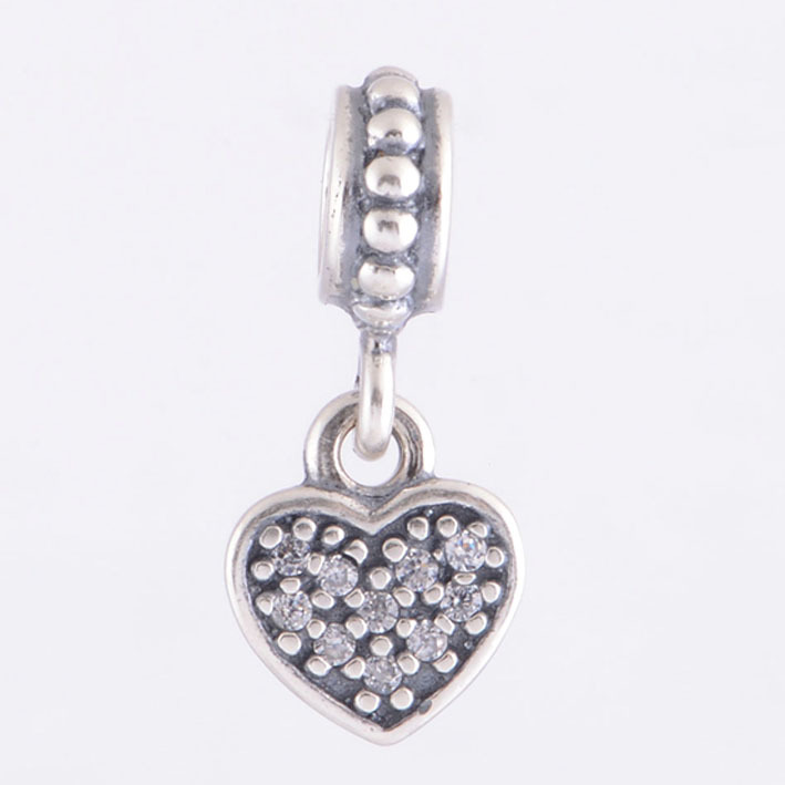 54135d4ac STLW282C Pave clear CZ heart dangle Charms 925 Sterling Silver Jewelry DIY  Fits for European Pandora charms bracelets & necklace