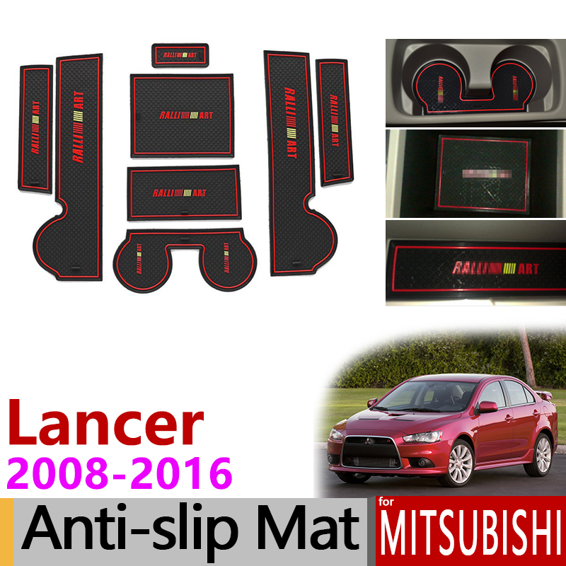 Anti-Slip Gate Slot Mat Rubber Cup Coaster for Mitsubishi <font><b>Lancer</b></font> 2008 - 2016 Ralliart EVO X Galant Fortis EX Accessories <font><b>Sticker</b></font> image
