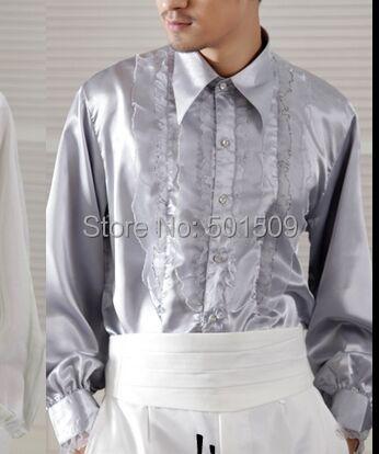 Envío gratis silver gray volantes desgastes bowtie decoración mens smoking camisetas camisas del partido/evento camisas