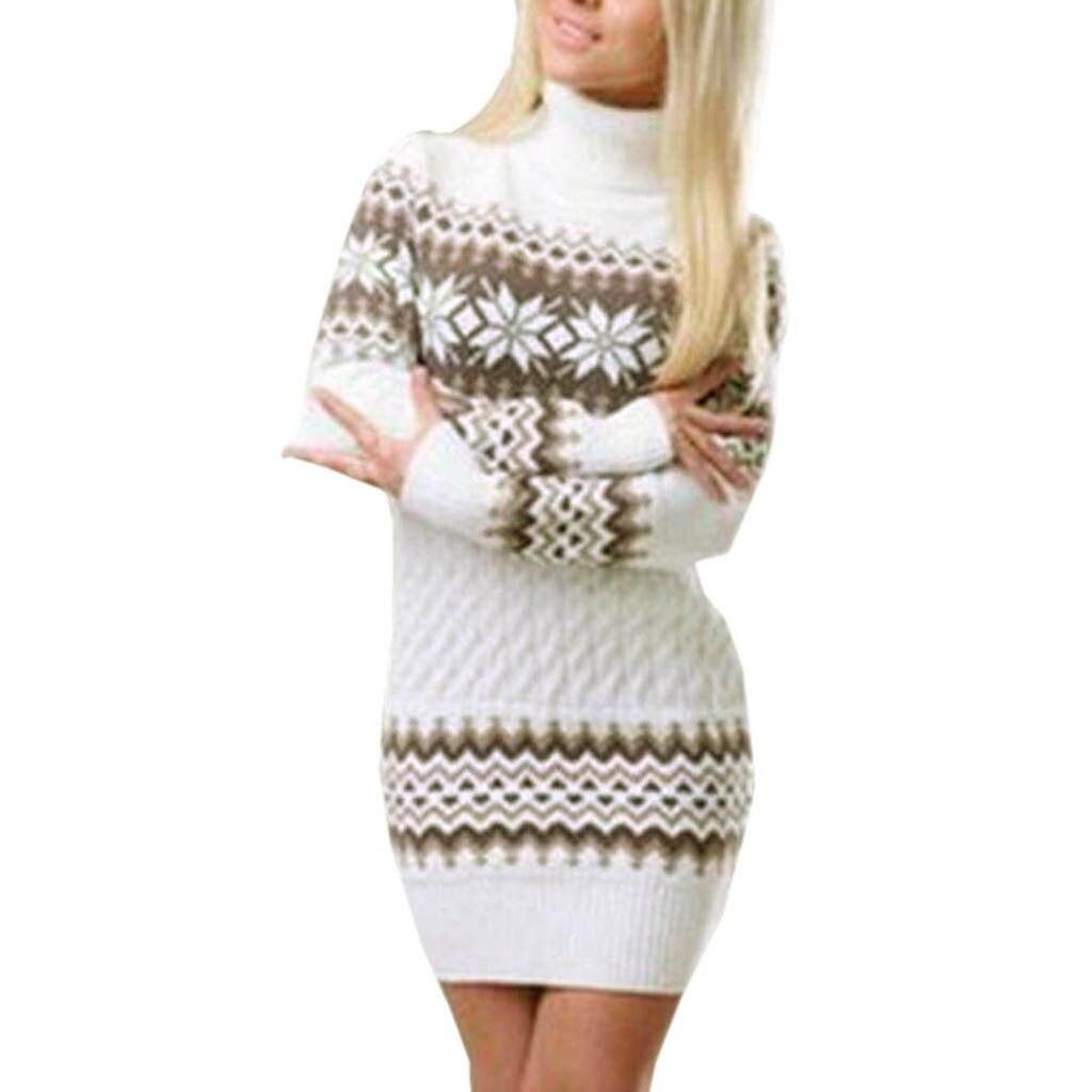 Женское платье свитер с высоким воротником, длинный трикотажный пуловер в стиле пэчворк со снежинками, для осени и зимы|Водолазки|   | АлиЭкспресс