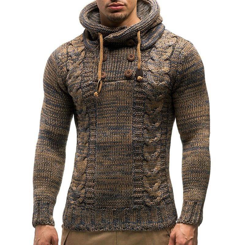 Choynsunday Männer Pullover Herbst Winter Pullover Strickjacke Mantel Mit Kapuze Pullover Jacke Outwear Beiläufige Dünne Fit Rollkragen Rheuma Und ErkäLtung Lindern