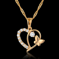 Love Heart Pendant For Girl Women Jewelry Rhinestone 18K Real Gold Plated Heart Pendant Necklace Chain