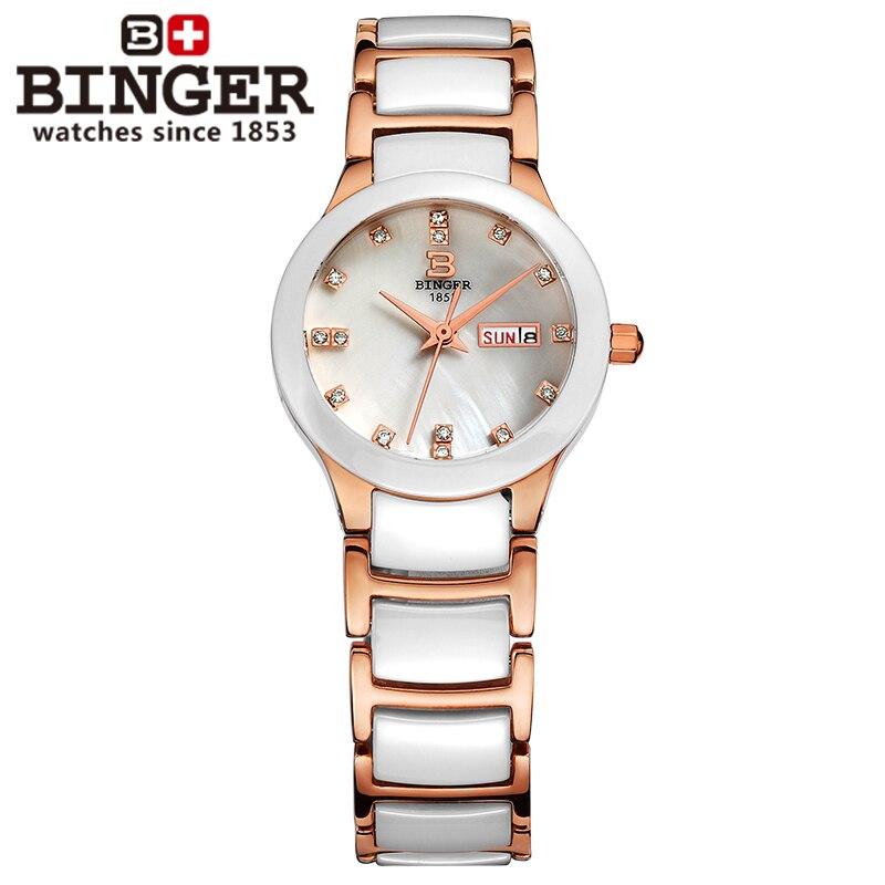 Suisse Binger Space céramique femmes montres de mode quartz montres strass amoureux horloge résistant à l'eau B-8007L-3 - 3