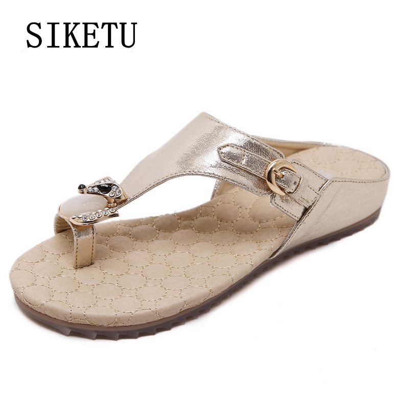 SIKETU 2017 summer new fashion sandals diamonds soft bottom comfortable non-slip woman beach slippers large size flat slippers42 suihyung design new women and men summer flat shoes hit color breathable hollow beach slippers flips non slip unisex sandals