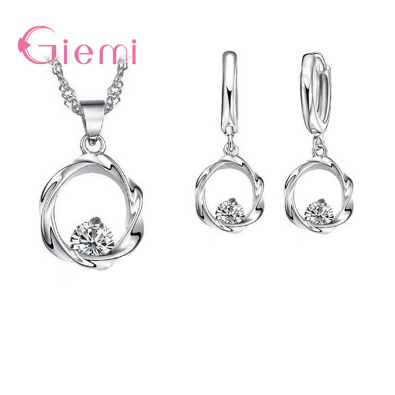 Trendy 925 Sterling Silver Bridal Women Wedding Round Pendants Necklaces Earrings Jewelry Sets Romantic Gifts Wholesale
