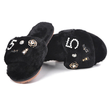 2019 Fur Shoes Female Word Drag Home Wear Non-slip Flat Bottom Plush Sl