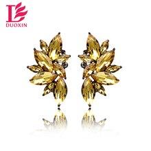 Opal Stone Stud Earrings Christmas Party 2016 Brand New Elegant Crystal Earrings For Women Trendy Gold Plated Women Earrings