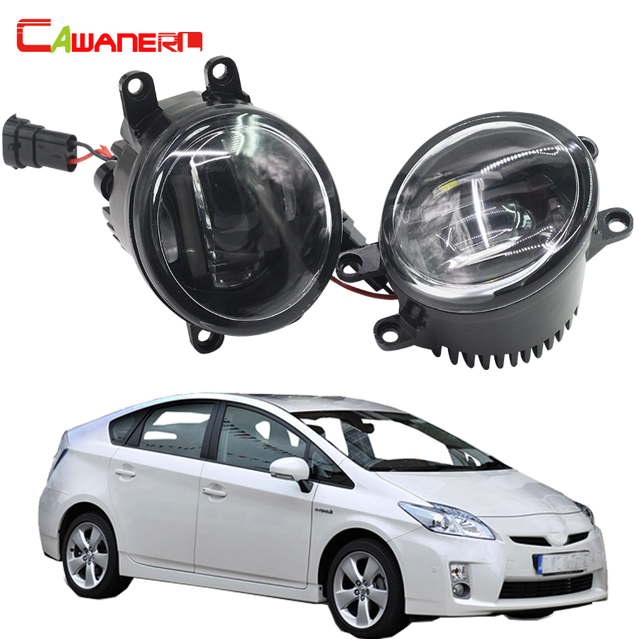 Cawanerl 2 X Car LED Fog Light DRL Daytime Running Lamp 12V White For Toyota Prius Hatchback (ZVW3_) 1.8 Hybrid 2009 Onwards cawanerl 1 pair car light led fog lamp drl daytime running light white 12v for subaru trezia hatchback 1 3 1 4d 2011 onwards