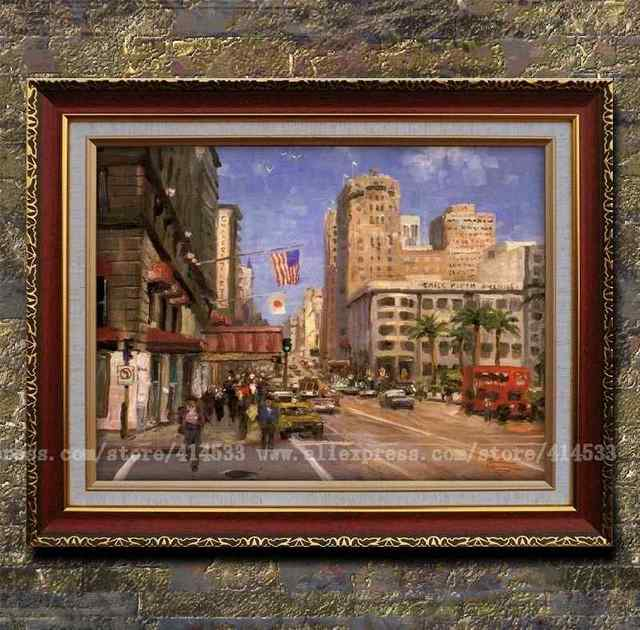 Prints Of Thomas Kinkade Oil Painting Union Square,san Francisco Cityscapes  Painting Office Home Decor