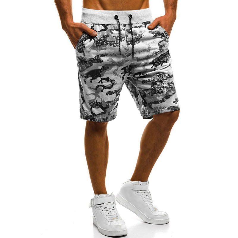 Mens Shorts Military Camo Abstract Printed Joggers Sporting Drawstring Elastic Waist Cotton Knee Length Male Casual Boardshorts