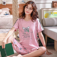 short-sleeved T-shirt shorts 2 pcs set pajamas cartoon rabbit print Sleep Lounge set Pajama women Pyjama mujer invierno summer