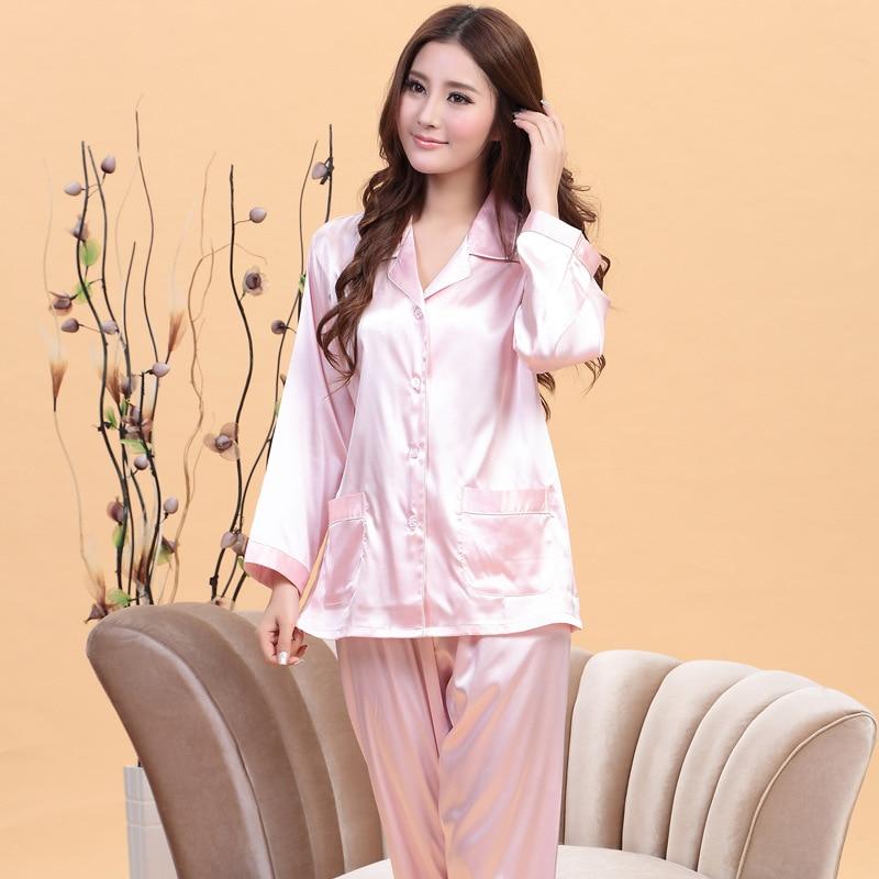 ONTFIHS White and Pink Silk Satin Pajama Sets For Women Sleepwear Long  Pajamas tops and Pants Pyjamas Set A-15 bc67b7f8f