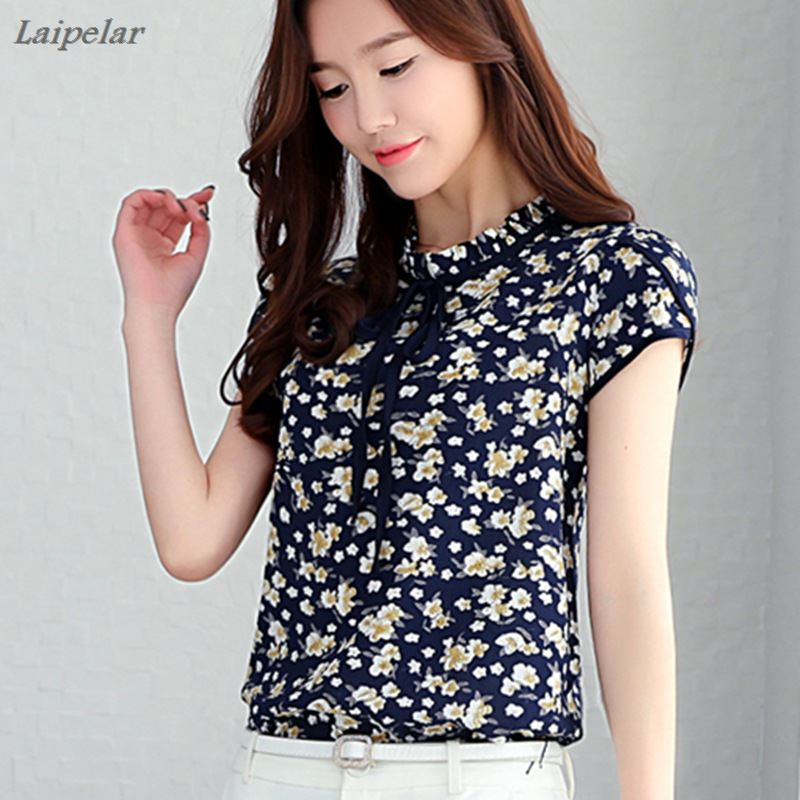 Women Summer Tops Chiffon Blouses And Shirts Short Sleeve Ladies Floral Print Feminine Blouse Blusas Femme Plus Size Tops Female in Blouses amp Shirts from Women 39 s Clothing