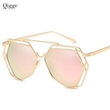 2020 Qigge Brand Designer Big Mirror Sunglasses Women Hexagon Lovers Hippie Holl