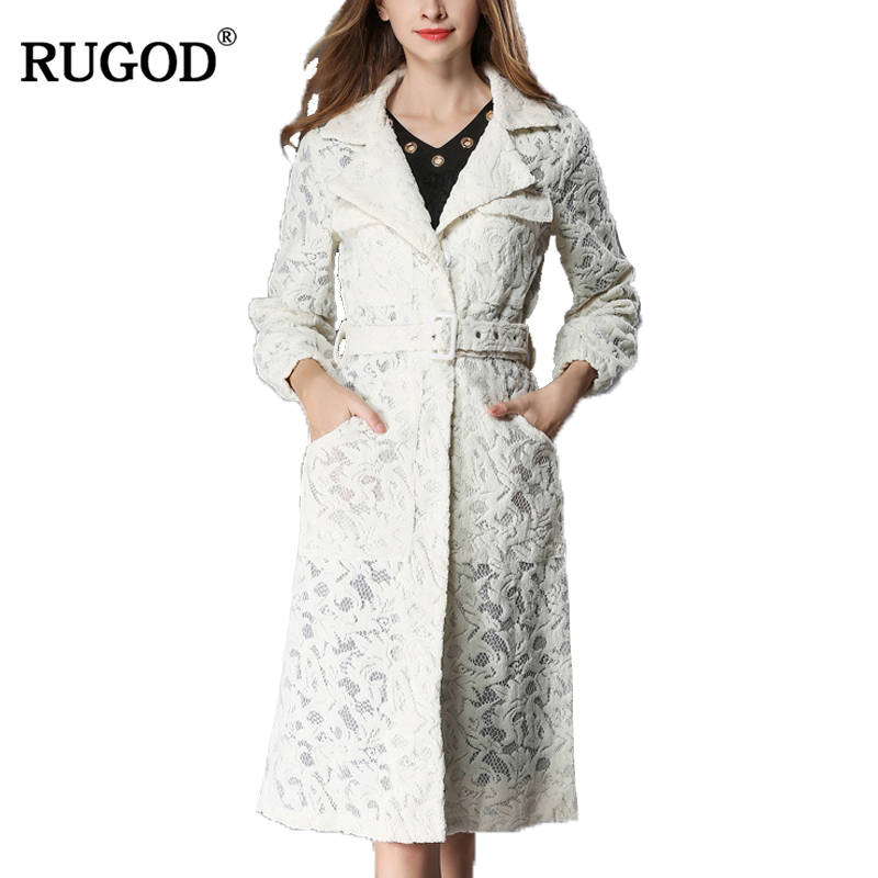 RUGOD New Lace   Trench   Coat For Women Autumn Outerwear Turn-down Collar Belted Single Breasted Slim Fit Long Coat Casaco Feminino