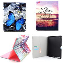 Yh lujo nueva owi torre pu leather case con ranuras para tarjetas de apple ipad 2/3/4 case folio protector de la piel para ipad4