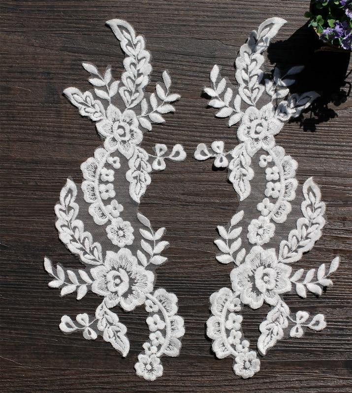 10PC White Car Bone Lace Flowers DIY Hair Accessories Lace Bridal Gown Wedding Shoes Head Ornaments Applique PatchesRS379