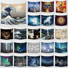 Unicorn tapestry explore lion sea wave  wall hanging tapestry home decoration large rectangle bedroom wall tapestry lightning ocean wave print tapestry wall hanging art
