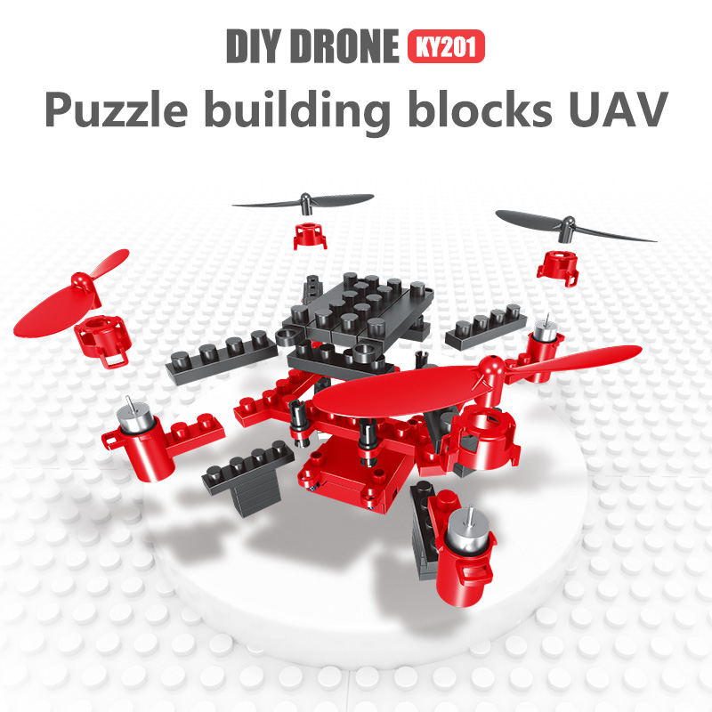 XKY KY201 2.4G 4CH DIY Drone RC Quadcopter Building Blocks Flying Drone With One Key Return Headless Mode Drone RTF