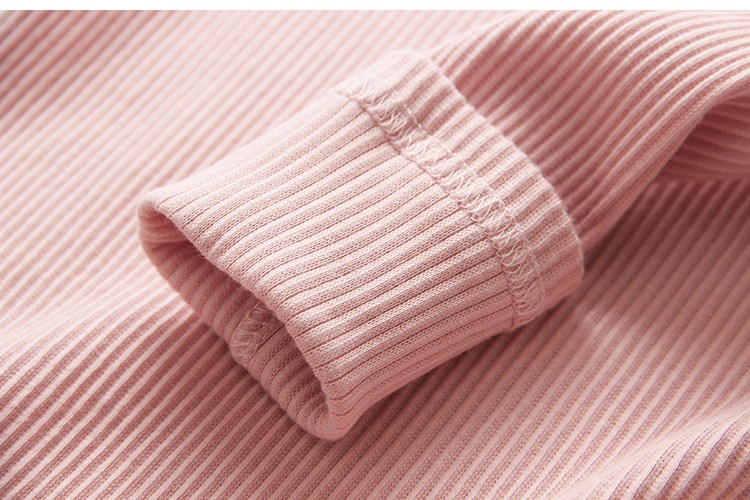 2018 Spring Autumn 100% Cotton White Grey Pink Solid Color Long Sleeve Pleated Turn-Down Collar Neck T Shirt For Girls 10 Years (17)