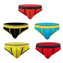 100% Cotton Briefs Men Sexy U Convex Pouch Underwear Thongs Plus Size XXL Trunks Low Rise Underwear for Men perspective u pouch low rise letter mesh trunks