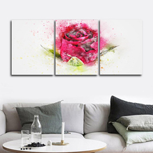 Laeacco 3 Panel Canvas Calligraphy Paintings Watercolor Red Rose Flower Pictures Wall Art Posters Prints Home Living Room Decor