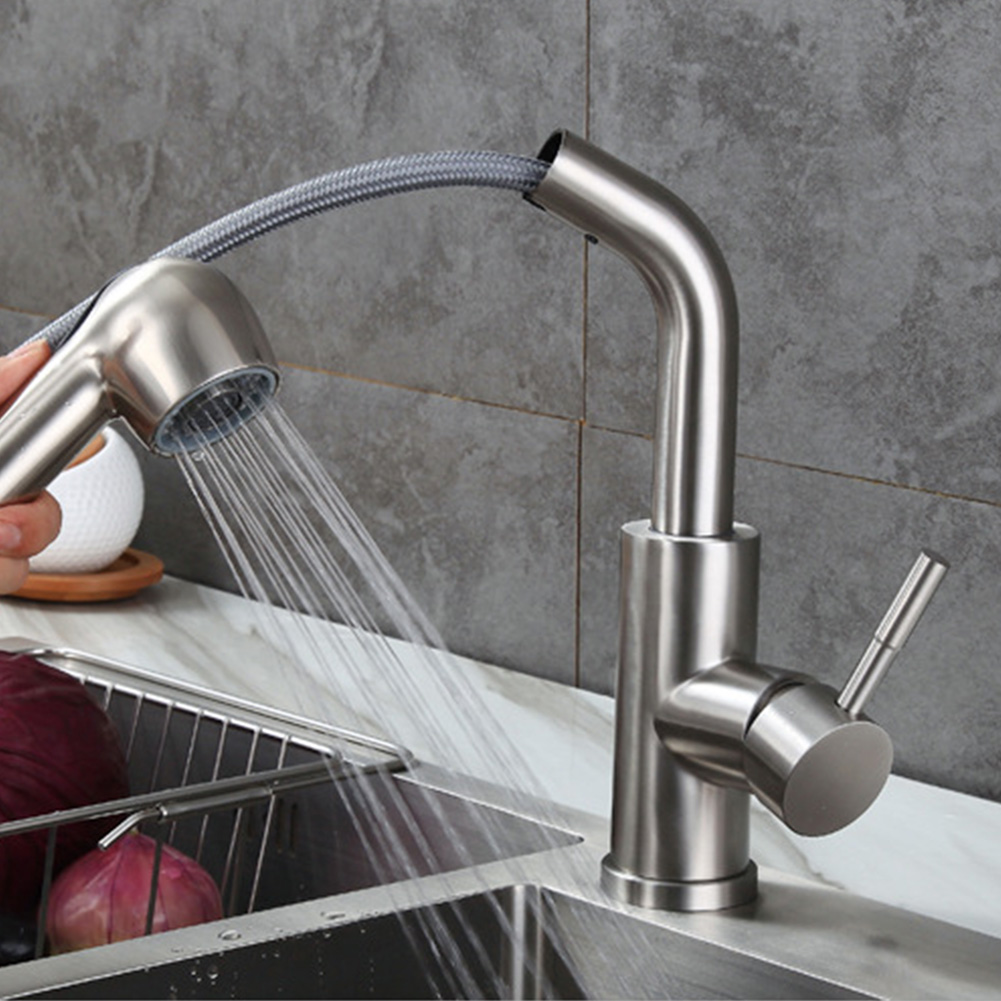 1Pc Pull Out Sprayer Kitchen Tap Chrome Tap Sink Sprayer Stream Rustproof Single Hole Stainless Steel