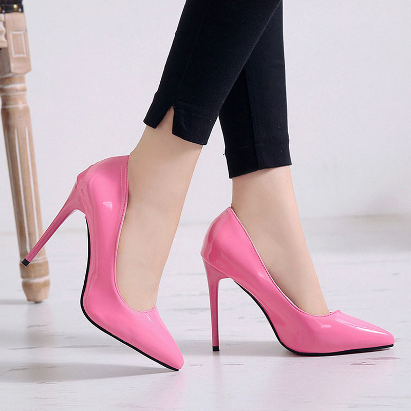 VTOTA Woman Shoes Pumps Thin Heels Shallow Slip-On Wedding Party Pointed-Toe Sexy Plus-Size
