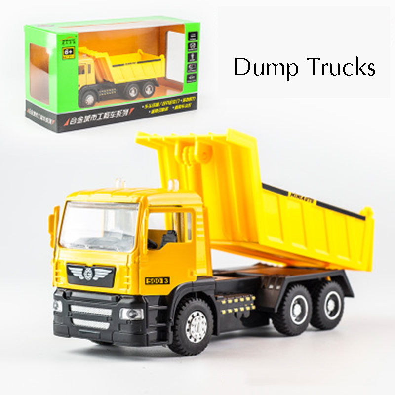 KIDAMI 1:50 Engineering vehicle Alloy Pull Back Diecast Model Car with sound light dump truck boys Gift toys for children 1 50 drill wagon alloy truck engineering vehicle toy car model dinky toys for children boys gift