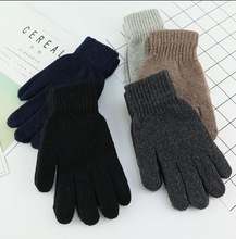 Autumn and Winter men's fashion solid color knitted gloves male thicken thermal warm black wool knitted gloves mittens